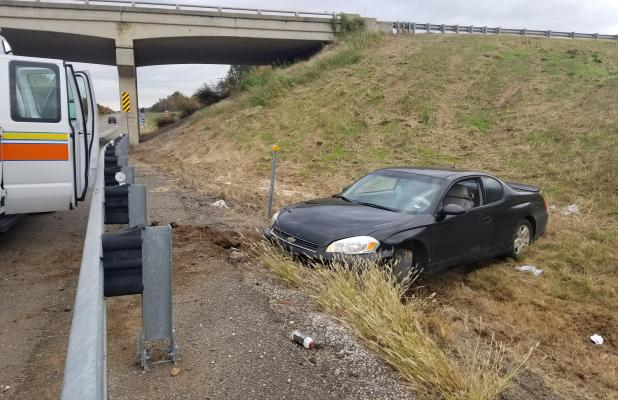 AT LEFT:                                A Texas man was transported to an area hospital last Wednesday afternoon for injuries after his vehicle rolled down an embankment off US Interstate-40 at the Carlisle exit, near the 291 mile marker. Oklahoma H