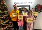 Vian Elementary fifth grade Students of the Month for November were front row, from the left, Alyssa Lee and Melinda White. Back row, Tuffie Hobson, left, fifth grade Student of the Month for December; Matthew Ward, center, was November Student of the Month; and Tanner Bell, right, was December Student of the Month.