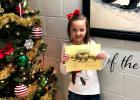 Adalynn Lane.was Vian Elementary December Student of the Month for first grade classes.