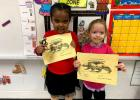 Vian Elementary Pre-K/Head Start Student of the Month for December was Noriya Taylor, left, and Elizabeth McCormack, right, was November's Student of the Month. Not pictured is Kialey Langley and Reid Locust.