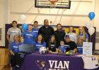Vian senior Mylie Hughes (seated, third from left) signed a national letter of intent to play college softball at Crowder College last week. Also pictured are (seated, from left) Brenda Smith, Tresha Hughes, Jett Constant, Jeff Hughes, Kay Smith, (top row